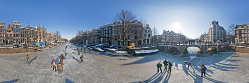 Ice skating on the famous Amsterdam Canals