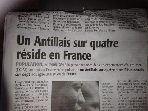 Un antillais sur 4 réside en France...