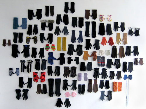 Collection of 62 single gloves found in Paris (October 2008-April 2009) and gouache on paper, variab