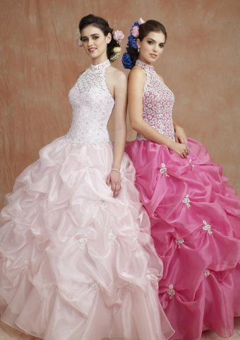 High Collar Beaded Lace Organza Satin Quinceanera Dress