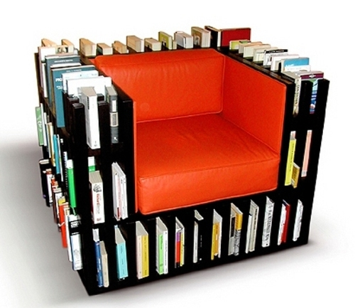 Unique bookshelf and sofa design