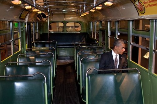 Obama Sits Inside Rosa Parks Bus/ When History meets History