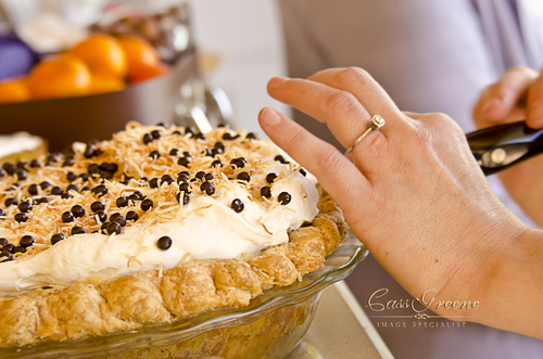 chocolate, coconut, and caramelized banana cream pie!