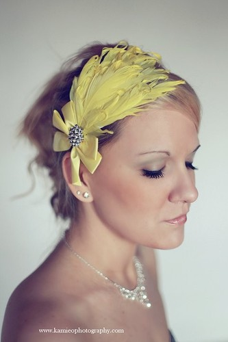 Bright Yellow Curly Goose Feather Headband Hair Bow Bling Rhinestones