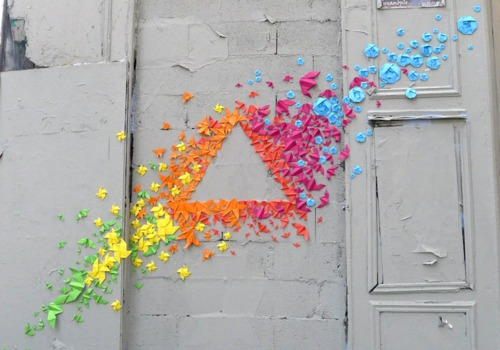 paper rainbows in the streets