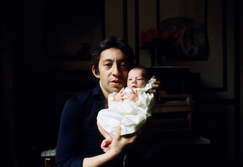 Serge Gainsbourg, with his daughter Charlotte, 1971, Paris