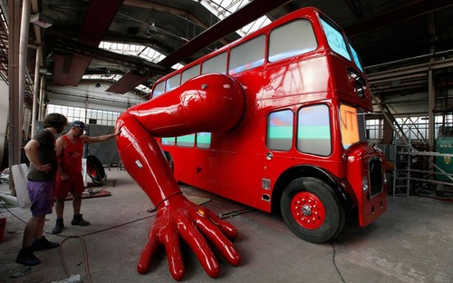 awesome bright red double-decker bus