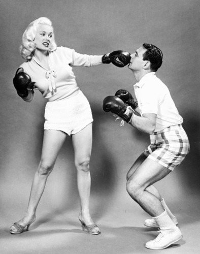 Mamie Van Doren punches her husband Ray Anthony.