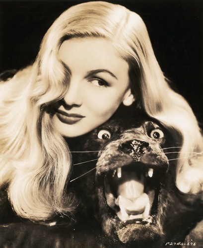 Veronica Lake and a stuffed seal.