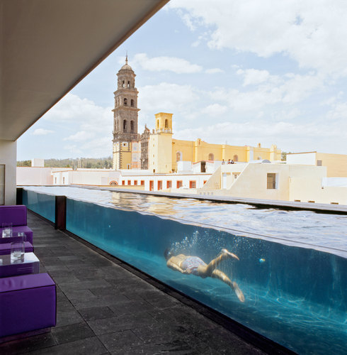 terrace pool in la purificadora hotel mexico