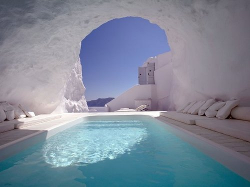 Cave pool in Santorini