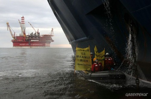 Greenpeace New action to stop Russian oil giant Gazprom's oil platform in the Arctic