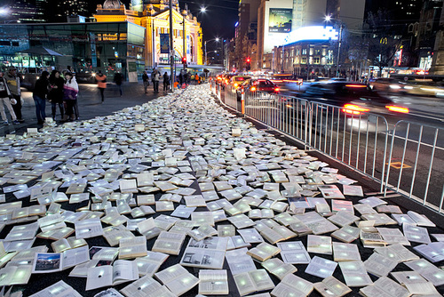 Massive River of 10,000 Discarded Books Rages Through Melbourne