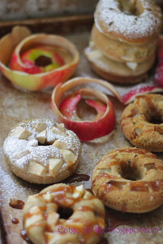 Baked Apple and caramel rustic donuts #food #cuisine #recette