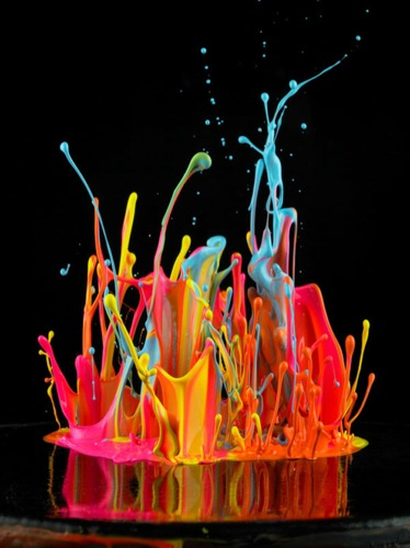 Electric Colored Paint Dances to Different Genres of Music