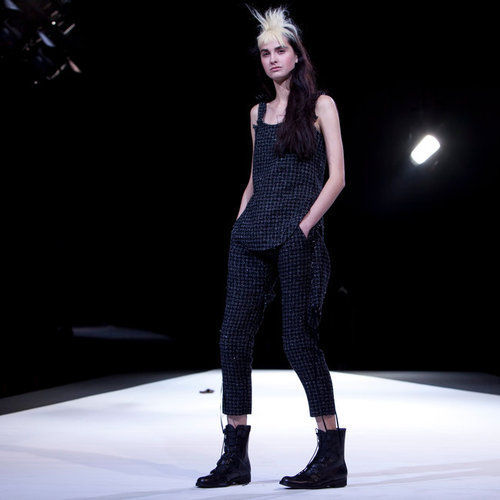 #fashion week : YOHJI YAMAMOTO A tweed jumpsuit, threaded with Lurex.