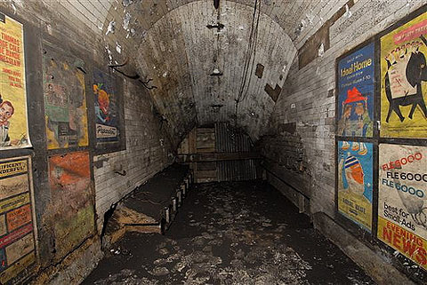 awesome gallery: disused passageway with vintage 1959 posters,...