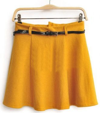 Yellow High Waist Umbrella A Line Skirt
