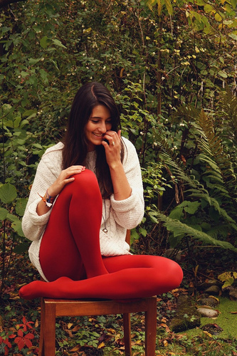 Bright red tights and baggy white wool sweater » Pantyhose Fashion - Tights & Leggings