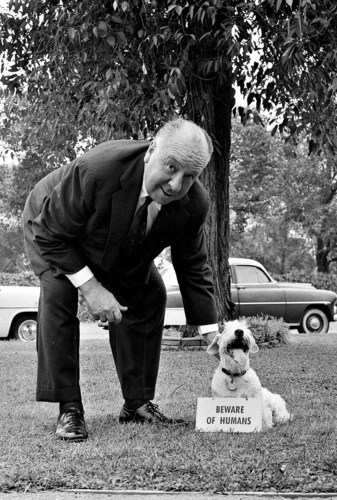 Alfred Hitchcock with a dog 1956.