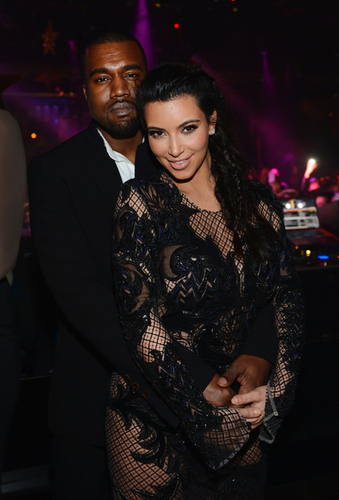 Kim Kardashian and Kanye West arrive for the New Year's Eve countdown at 1 OAK Nightclub At The Mi