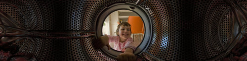 Inside a washing machine, Barcelona, Spain