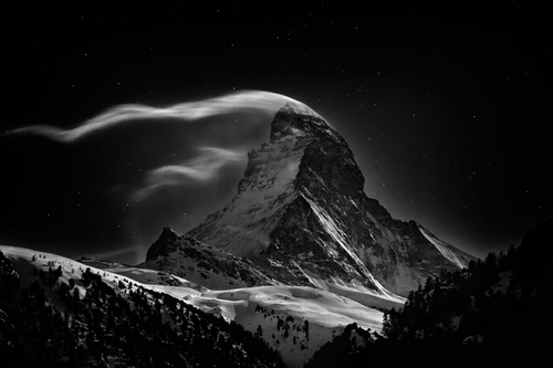 The Matterhorn, 4478 meters at full moon