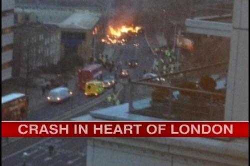 A helicopter crashed near River Thames in central London