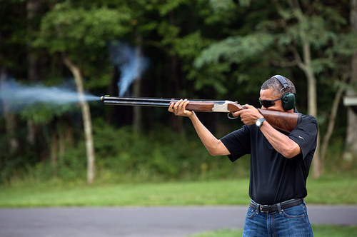 US presidents photographed with guns - Barack Obama