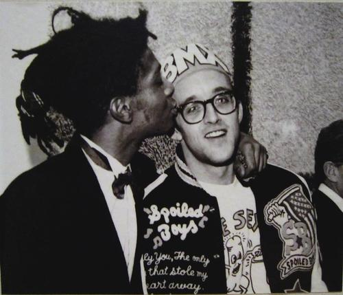 Jean Michel Basquiat kissing Keith Haring