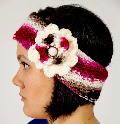 Knitted Fleece Lined Women's Pink Candy Headband
