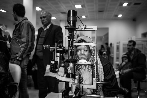 Somayeh Mehri receives treatment at the Farabi Eye Hospital in Tehran.