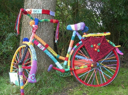 Amazingly colorful yarn bombed bicycle