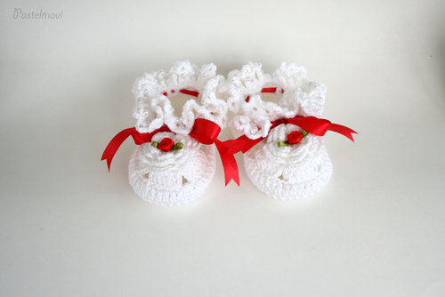 Baby Booties Free shipping Crochet With Pearls Baby