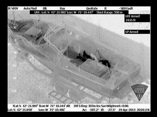 #bostonmarathon State Police released infrared and conventional pics of the bombing suspect hiding i