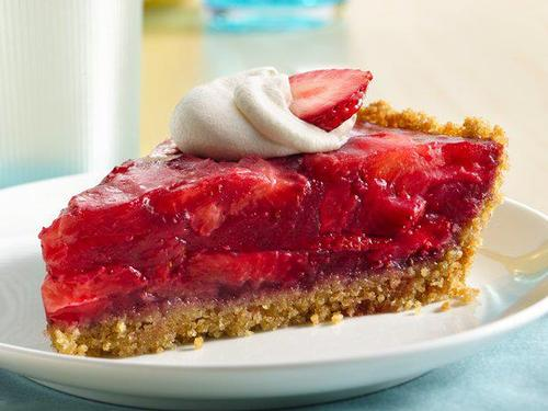 Fresh strawberry slices piled high on this delicious pie!