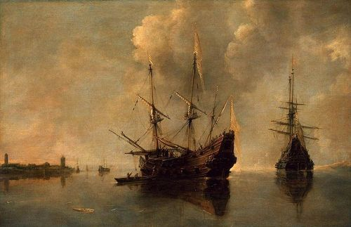oeuvre du peintre Andries van Eertvelt - Two Ships at Anchor