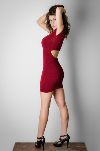 Convinced my friend to pose in a tight dress.
