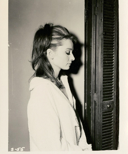 Audrey Hepburn during a wardrobe test for Breakfast at Tiffany's, 1961.