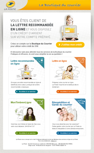 Emailing Boutique du courrier