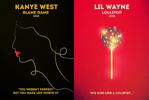 Rap Posters : Kanye West (Blame game) et Lil Wayne (lollipop)