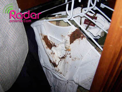 Michael Jackson's Home: A bloody t-shirt was found, but not confiscated by police.