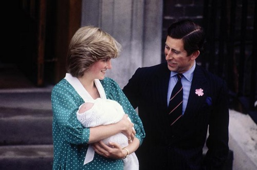 Diana, Princess of Wales leaves St. Mary's hospital on June 22, 1982, with a new-born Prince William