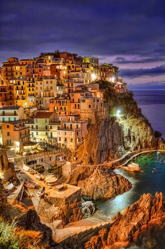 Manarola by night, commune of Riomaggiore, Cinque Terre, province of La S