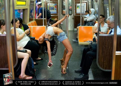 Dancer Among Us Eleni Speyer sleeping on the subway