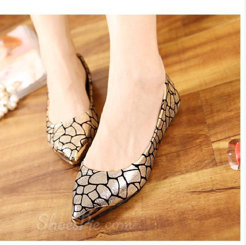 Metal Crack Flat Point-toe Heels