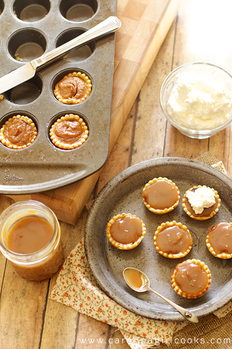 Chocolate Bourbon Caramel Mini Pumpkin Pies