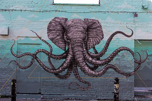 An Elephant Octopus Mural on the Streets of London by Alexis Diaz street #streetart