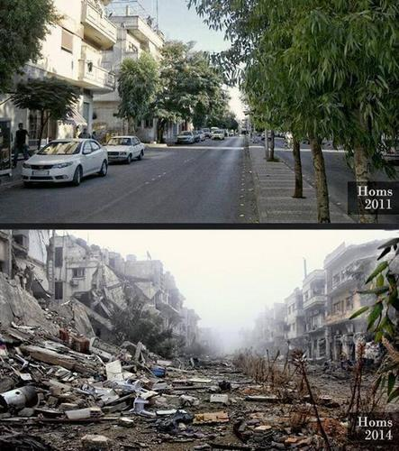 The ongoing #Syria'n tragedy. The same street in #Homs in 2011 and in 2014.