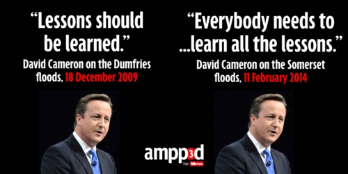 David Cameron: not learning the lessons of flooding since 2009